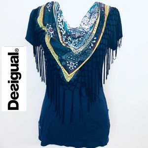 DESIGUAL Top with fringe scarf